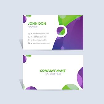 Carte de visite verte et violette