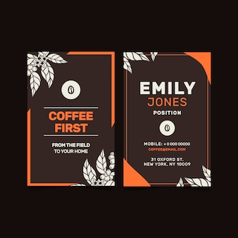 Carte de visite verticale de café