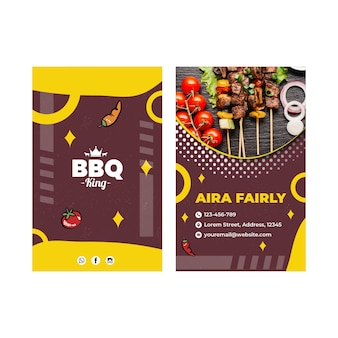 Carte de visite verticale double face barbecue