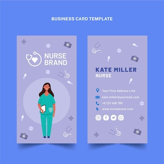 Carte de visite verticale médicale plate