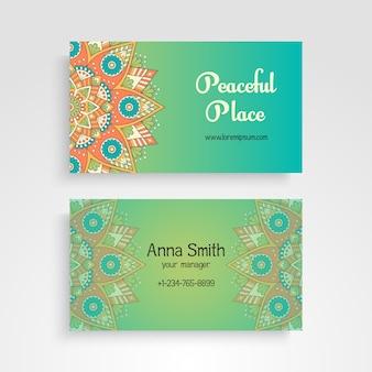 Carte de visite vintage decorative elements ornamental floral business cards oriental pattern vector illustration