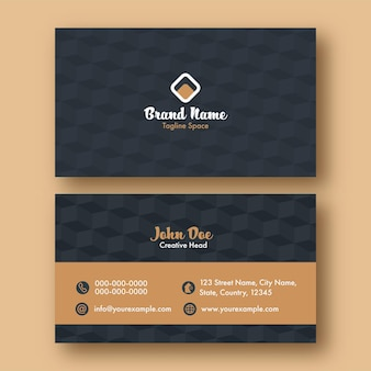 Carte de visite ou de visite avec motif de cube en couleur grise et brune.