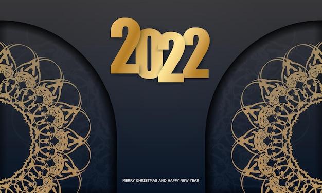 Carte de voeux 2022 joyeux noël noir avec motif d'or d'hiver