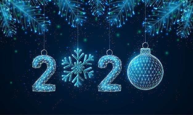 Carte de voeux abstrait happy new year 2020 avec des branches d'arbres en forme.