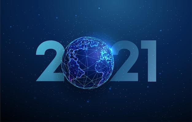 Carte de voeux abstraite happy new year 2021 avec planète. conception de style low poly. abstrait géométrique structure de connexion lumière filaire concept graphique 3d moderne isolé