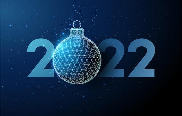 Carte de voeux abstraite happy new year 2022 avec boule de noël