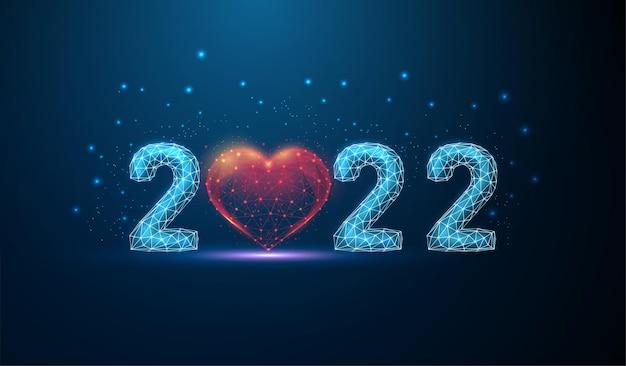 Carte de voeux abstraite happy new year 2022 avec forme de coeur