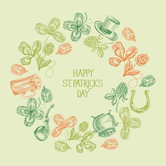 Carte de voeux abstraite vintage st patricks day avec inscription de voeux et croquis de symboles et éléments traditionnels vector illustration