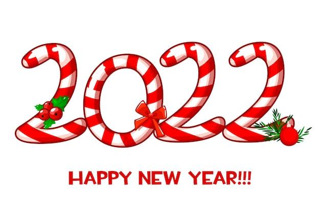 Carte de voeux ou affiche happy new year 2022 avec des bonbons.