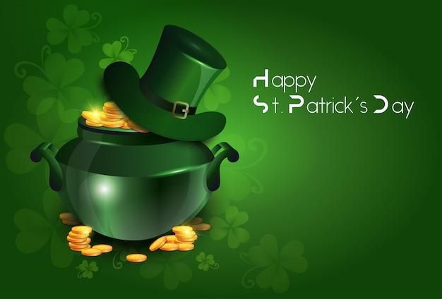 Carte de voeux ou affiche de saint patricks day fond de vacances irlandais traditionnel