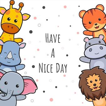 Carte de voeux animal mignon doodle fond papier peint illustration de dessin animé style de dessin animé plat