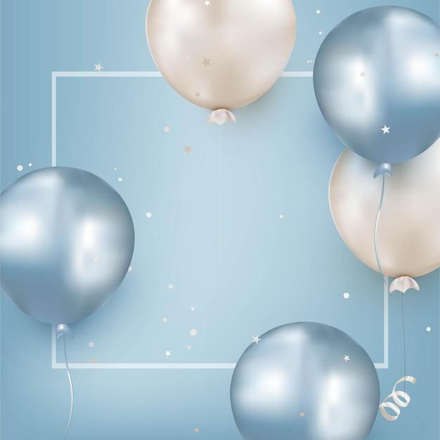 Carte de voeux d'anniversaire avec des ballons bleus