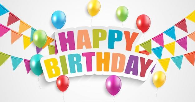 Carte de voeux anniversaire ballons glacés couleur