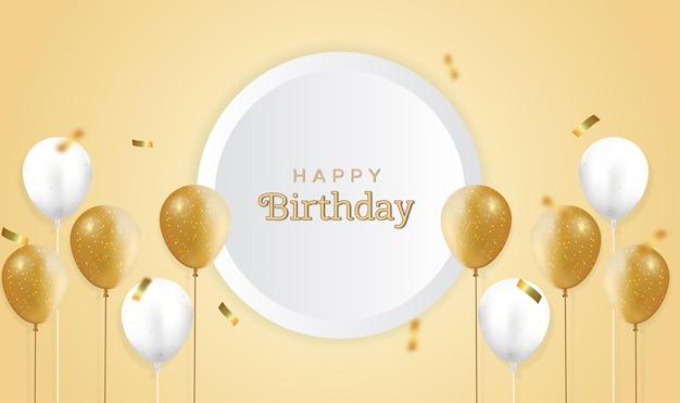 Carte de voeux d'anniversaire avec des ballons réalistes