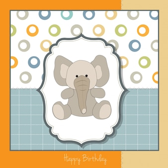 Carte de voeux d'anniversaire avec bébé éléphant
