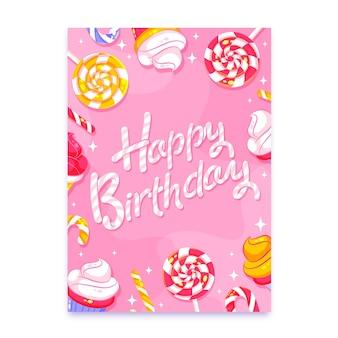 Carte de voeux d'anniversaire avec lettrage