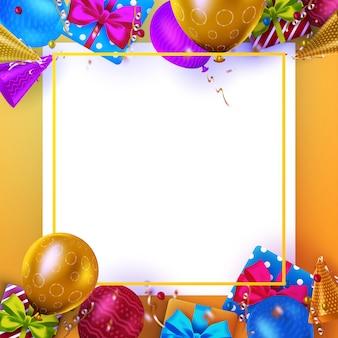 Carte de voeux d'anniversaire de luxe avec des coffrets cadeaux colorés, des confettis et des ballons d'anniversaire sur fond orange