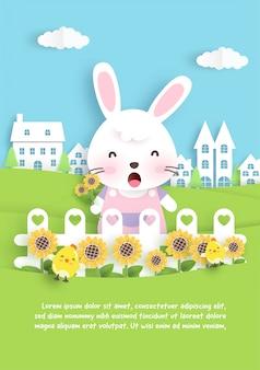 Carte de voeux d'anniversaire avec mignon lapin et tournesol dans un style papier découpé.