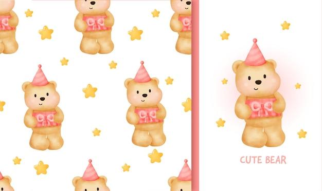 Carte de voeux d'anniversaire modèle sans couture avec ours en peluche mignon tenant une boîte-cadeau.