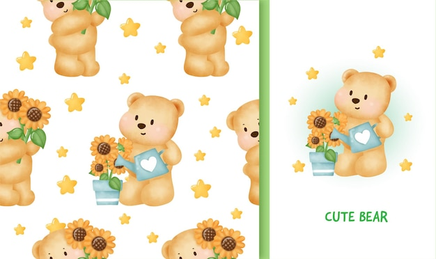 Carte de voeux d'anniversaire modèle sans couture avec ours en peluche mignon tenant un tournesol.