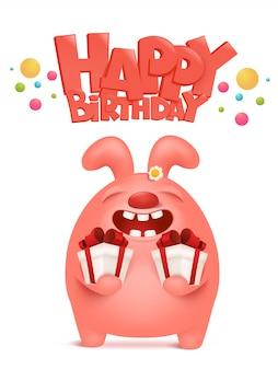 Carte de voeux d'anniversaire avec personnage de dessin animé de lapin rose tenant des boîtes-cadeaux.