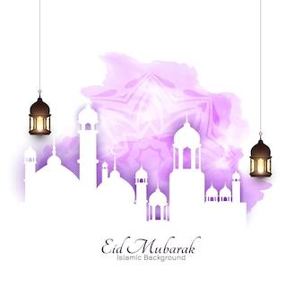 Carte de voeux d'aquarelle douce eid mubarak festival