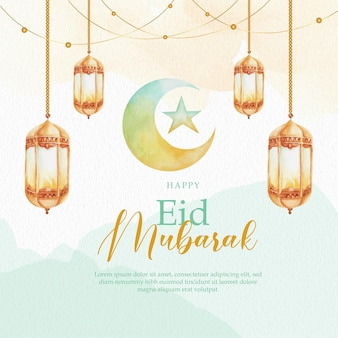 Carte de voeux d'aquarelle eid mubarak vert du croissant de lune