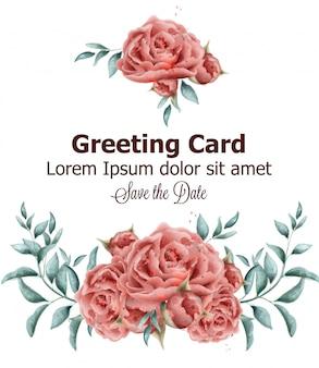 Carte de voeux avec aquarelle de fleurs roses