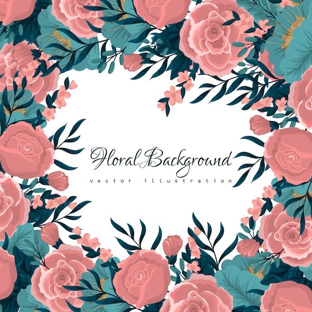 Carte de voeux avec aquarelle de fleurs