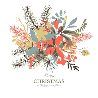 Carte de voeux aquarelle floral hiver avec des branches de houx, de fleurs et de baies