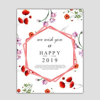 Carte de voeux aquarelle floral