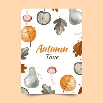 Carte de voeux aquarelle forêt d'automne