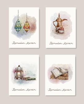 Carte de voeux aquarelle ramadan kareem