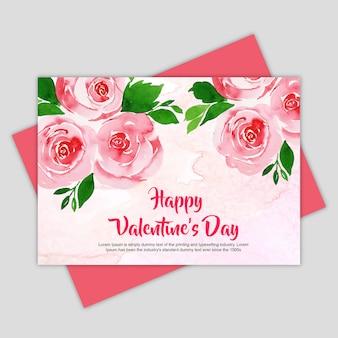 Carte de voeux aquarelle valentine