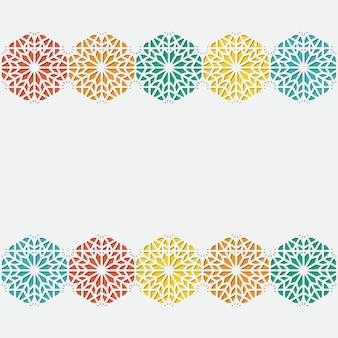 Carte de voeux arabe de conception d'arabesque pour le détail coloré ornemental islamique de ramadan kareem