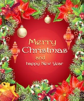 Carte de voeux avec arbre de noël et du nouvel an avec des branches, des pommes de pin, des jouets, des bonbons et des fleurs