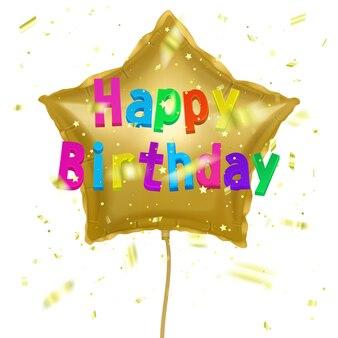 Carte de vœux avec ballon à air de fête joyeux anniversaire avec des confettis