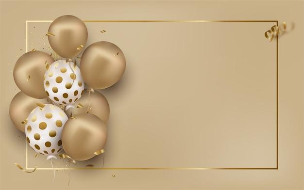 Carte de voeux avec des ballons d'or sur beige