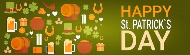 Carte de voeux de bannière de festival de bière de jour de st patrick