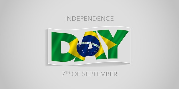 Carte de voeux de bannière de vecteur de joyeux jour de l'indépendance du brésil