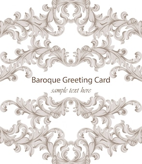 Carte de voeux baroque avec ornement de luxe classique. arrière-plans de décor de vecteur
