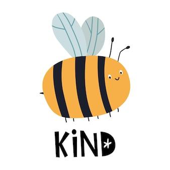 Carte de voeux bee kind avec abeille et lettrage à la main