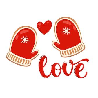 Carte de voeux avec des biscuits au pain d'épice. amour avec mitaine rouge. illustration vectorielle pour la conception du nouvel an.