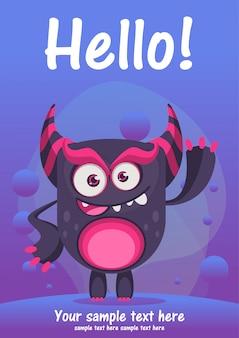Carte de voeux bonjour monstre mignon
