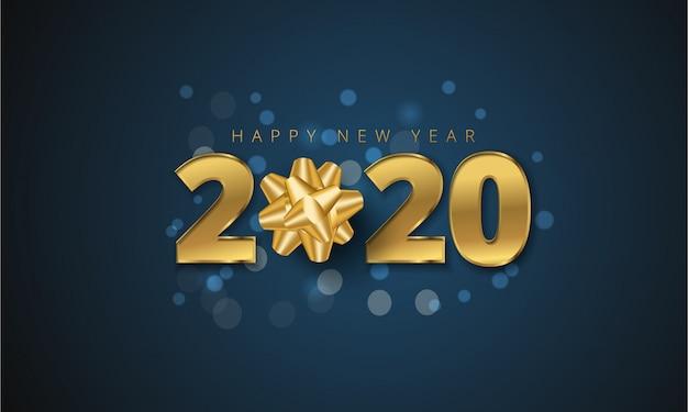 Carte de voeux de bonne année 2020 avec un arc de cadeau doré