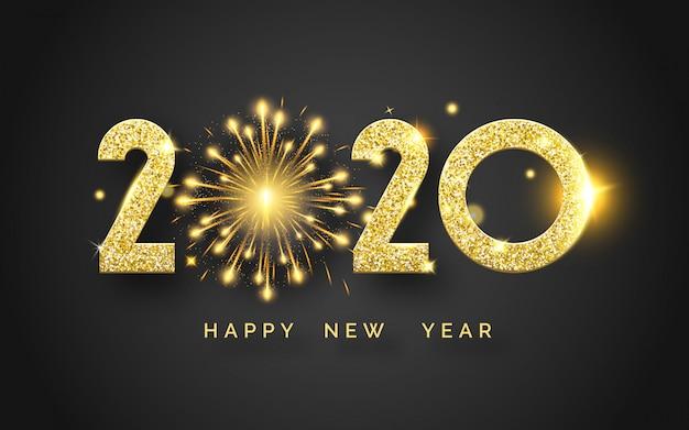 Carte de voeux de bonne année 2020 avec chiffres et feux d'artifice brillants.