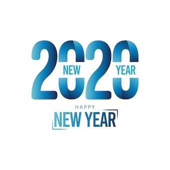 Carte de voeux de bonne année 2020 sur la couleur bleue
