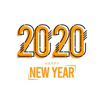 Carte de voeux de bonne année 2020 sur jaune avec des lignes