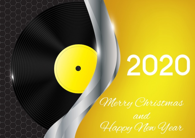 Carte de voeux bonne année 2020 et joyeux noël 2020