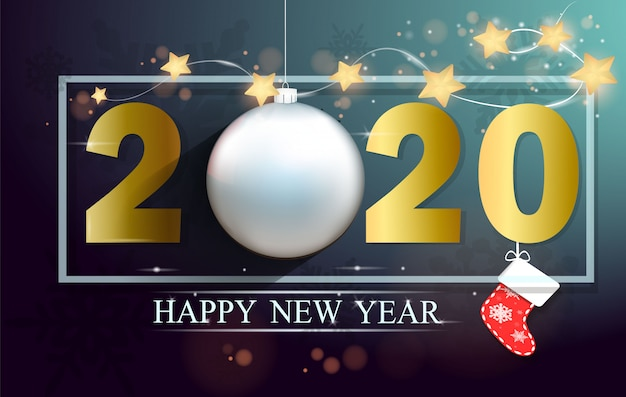 Carte de voeux bonne année 2020 et joyeux noël de l'or 2020